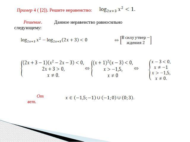 Пример 4 ( [2]). Решите неравенство: Решение. Данное неравенство равносильно...