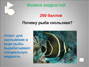 200 баллов Почему рыба скользкая? Ответ: для скольжения в воде рыбы вырабаты
