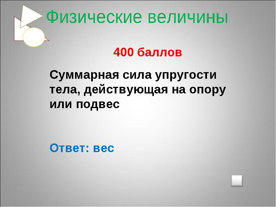 400 баллов Суммарная сила упругости тела, действующая на опору или подвес От...