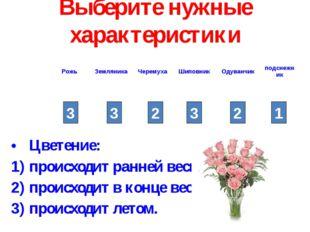 Выберите нужные характеристики Цветение: происходит ранней весной; происходит