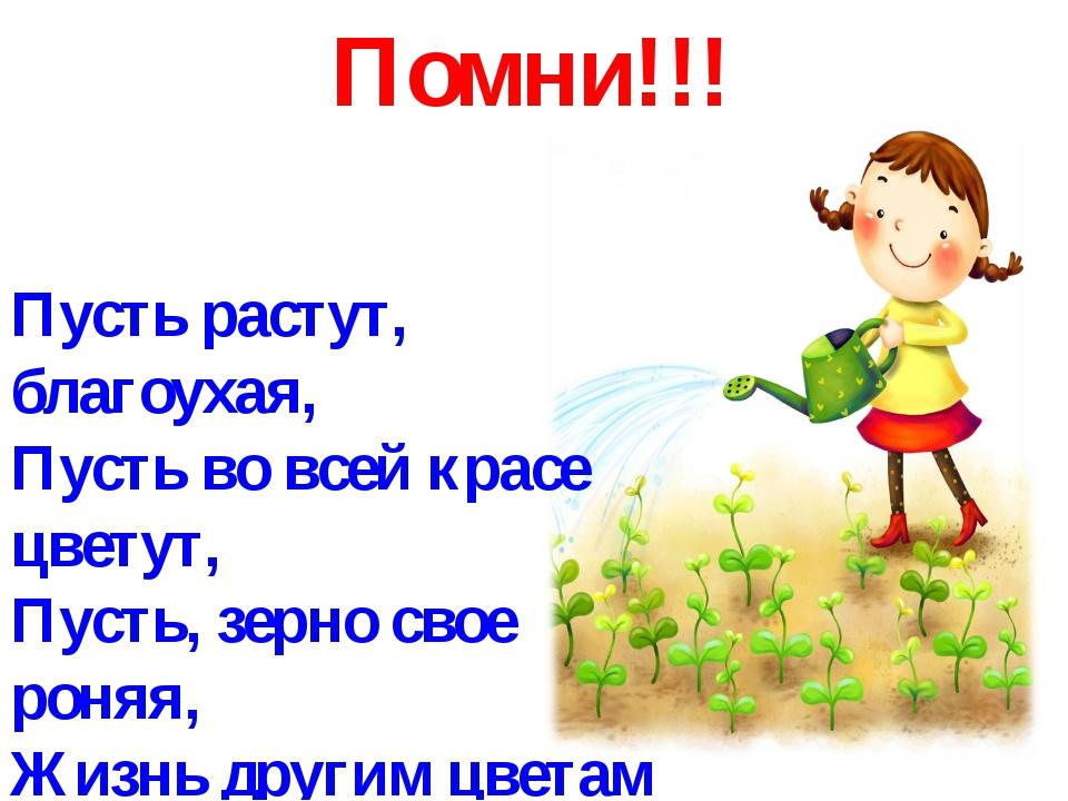 Помни!!! Пусть растут, благоухая, Пусть во всей красе цветут, Пусть, зерно св...