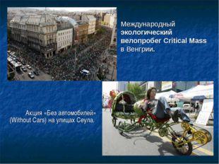 Международный экологический велопробег Critical Mass в Венгрии. Акция «Без ав