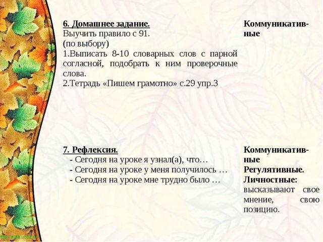 6. Домашнее задание. Выучить правило с 91. (по выбору) Выписать 8-10 словарны...
