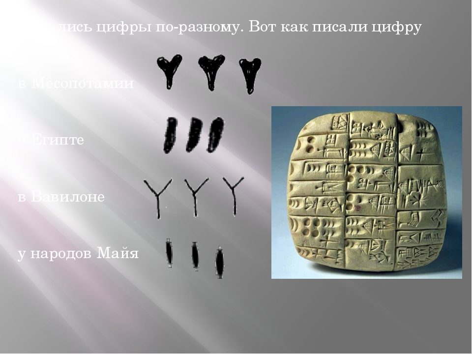 Писались цифры по-разному. Вот как писали цифру три: в Месопотамии в Египте...
