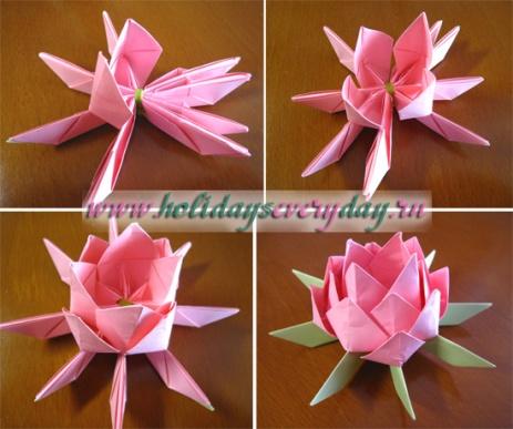как сделать оригами лотос