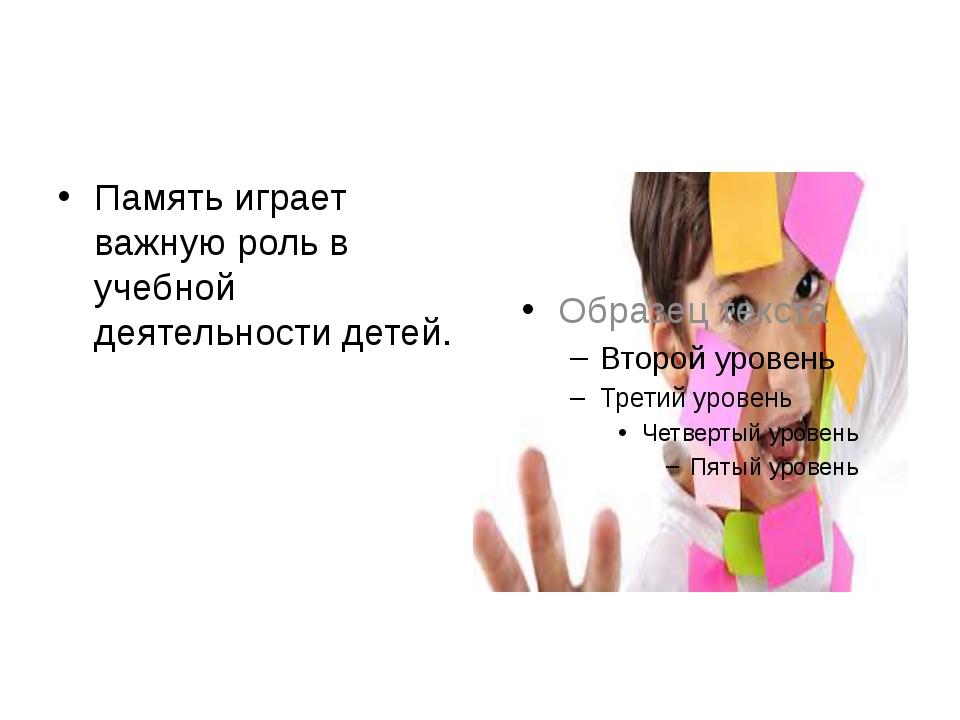 Память играет важную роль в учебной деятельности детей.
