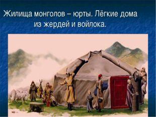 Жилища монголов – юрты. Лёгкие дома из жердей и войлока.