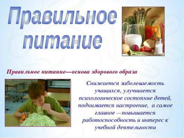 Правильное питание—основа здорового образа Снижается заболеваемость учащихся,...
