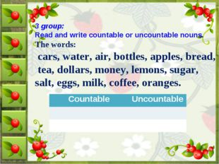 3 group: Read and write countable or uncountable nouns. The words: cars, wate