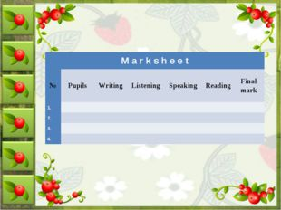 M a r k s h e e t	 №	Pupils	Writing	 Listening	 Speaking	   Reading  	Final m