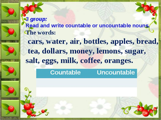 3 group: Read and write countable or uncountable nouns. The words: cars, wate...