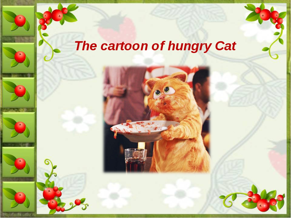 The cartoon of hungry Cat