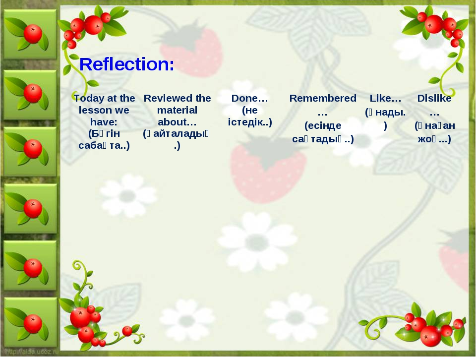 Reflection: Today at the lesson we have: (Бүгін сабақта..)  	Reviewed the mat...