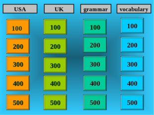 100 100 200 200 400 400 300 400 USA UK grammar vocabulary 300 300 300 200 400