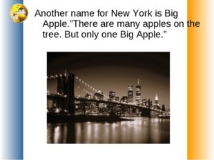 "Another name for New York is Big Apple.""There are many apples on the tree. Bu"