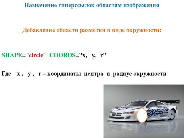 """Назначение гиперссылок областям изображения SHAPE= 'circle' COORDS=""""х, у, r""""..."""