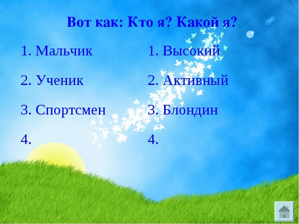 Вот как: Кто я? Какой я? 1. Мальчик1. Высокий 2. Ученик2. Активный 3. Спор...
