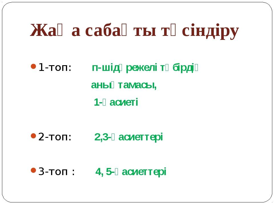 Жаңа сабақты түсіндіру 1-топ: п-шідәрежелі түбірдің анықтамасы, 1-қасиеті 2-т...