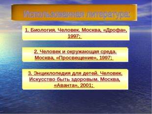 1. Биология. Человек. Москва, «Дрофа», 1997; 2. Человек и окружающая среда.