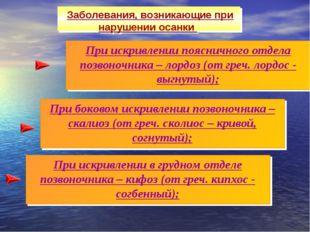 При искривлении в грудном отделе позвоночника – кифоз (от греч. кипхос - согб