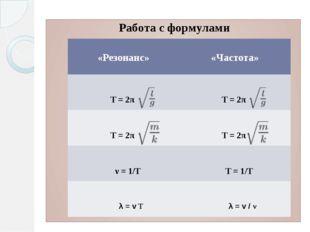 Работа с формулами   «Резонанс» «Частота» Т = 2π Т = 2π Т = 2π Т = 2π ν= 1/