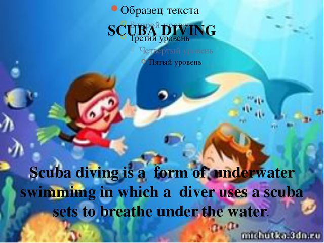 SCUBA DIVING Scuba diving is a form of underwater swimmimg in which a diver u...