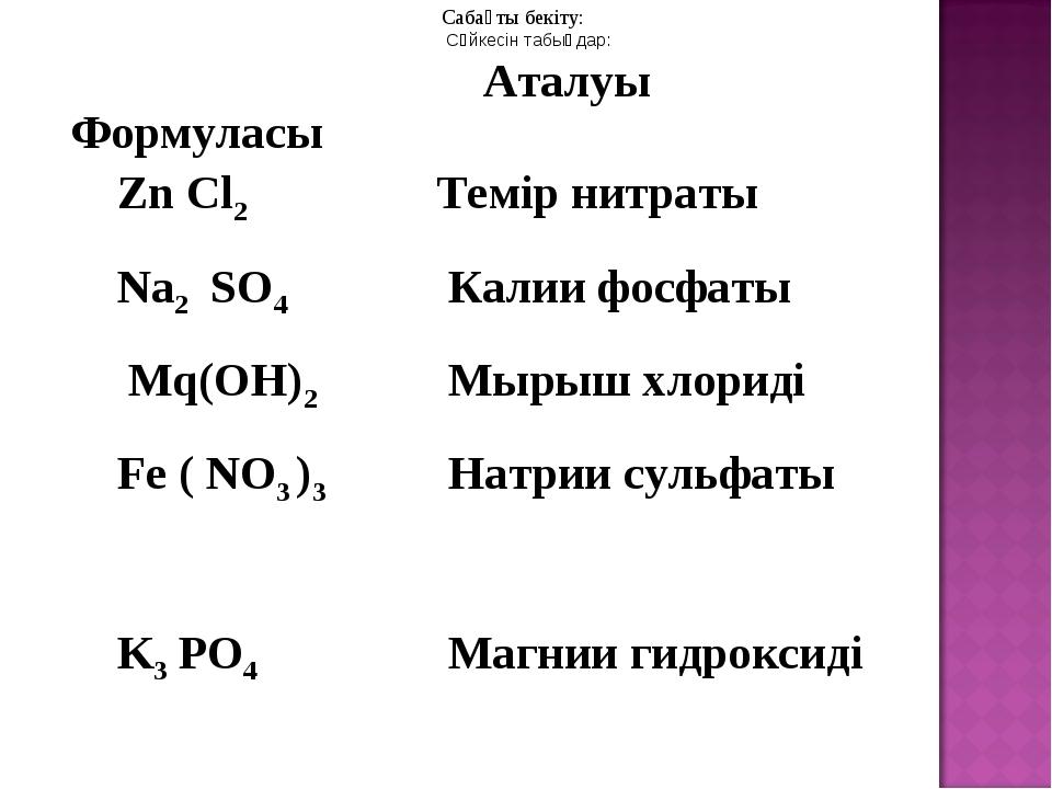 Сабақты бекіту: Сәйкесін табыңдар: Формуласы Аталуы Zn Cl2 Темір нитраты Na...