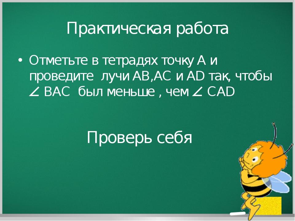 Практическая работа Отметьте в тетрадях точку А и проведите лучи AB,AC и AD т...