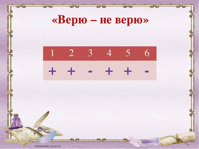 «Верю – не верю» 1 2 3 4 5 6 + + - + + -