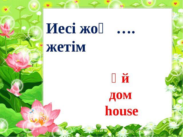 Иесі жоқ …. жетім Үй дом house