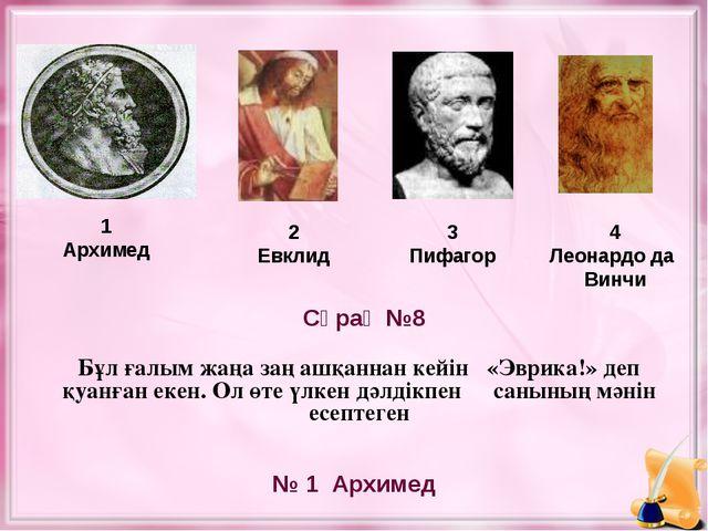 1 Архимед 2 Евклид 3 Пифагор № 1 Архимед Сұрақ №8 4 Леонардо да Винчи Бұл ғал...