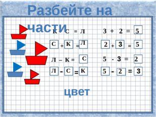К + С = Л 3 + 2 = + = + = Л – = 5 - = - = - = 5 С К Л 2 3 5 С 2 Л С К 5 2 3