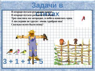 Задачи в стихах В огороде пугало рукавами машет. В огороде пугало разгоняет