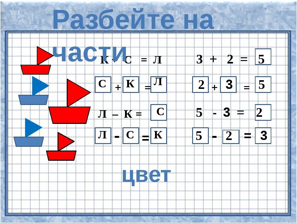 К + С = Л 3 + 2 = + = + = Л – = 5 - = - = - = 5 С К Л 2 3 5 С 2 Л С К 5 2 3...