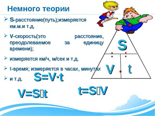Немного теории S-расстояние(путь);измеряется в км.м.и т.д. V-скорость(это рас...