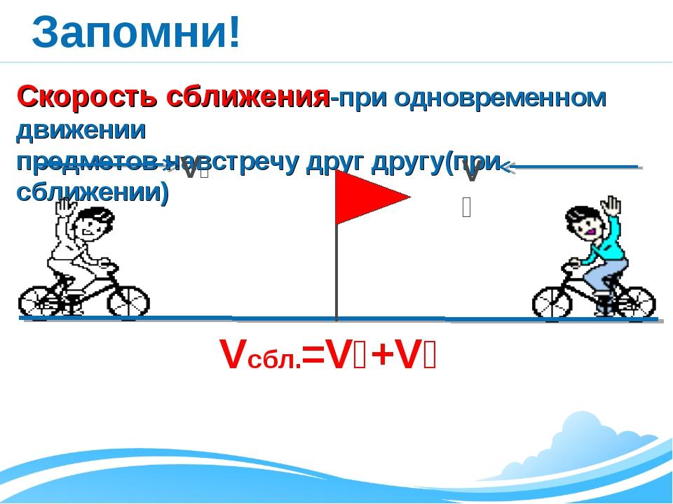 Запомни! Скорость сближения-при одновременном движении предметов навстречу др...