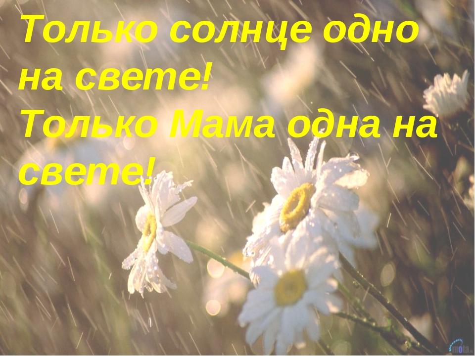 Только солнце одно на свете! Только Мама одна на свете!