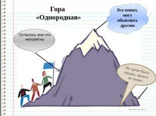 Гора «Однородная» Все понял, могу объяснить другим На уроке было трудно, ниче