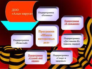 Подпрограмма «Достижени-Я» (школа лидера) Подпрограмма «Спорт и здоровье» По
