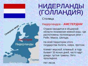 АМСТЕРДАМ Северное море Столица Нидерландов - АМСТЕРДАМ Страна находится в об