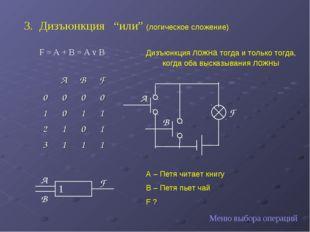 """Дизъюнкция """"или"""" (логическое сложение) F = A + B = A v B F A B Меню выбора о"""