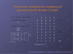 Получение совершенно нормальной дизъюнктивной формы (СНДФ) Составление формул