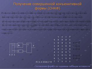 Получение совершенной конъюнктивной формы (СНКФ) Составление формул по заданн