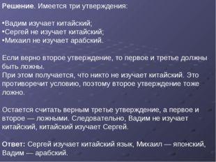Решение. Имеется три утверждения: Вадим изучает китайский; Сергей не изучает