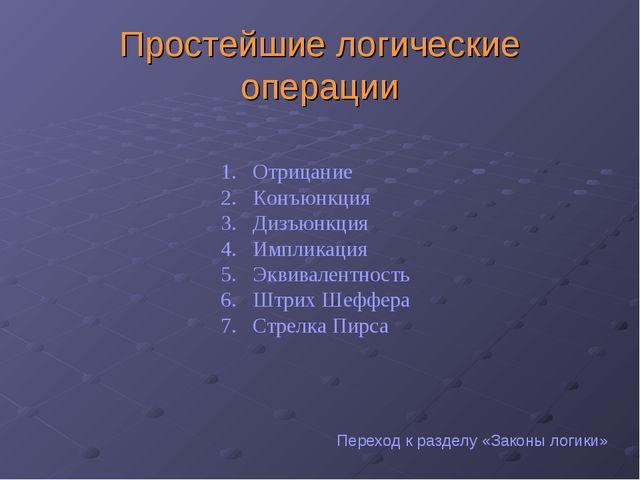 Простейшие логические операции Отрицание Конъюнкция Дизъюнкция Импликация Экв...