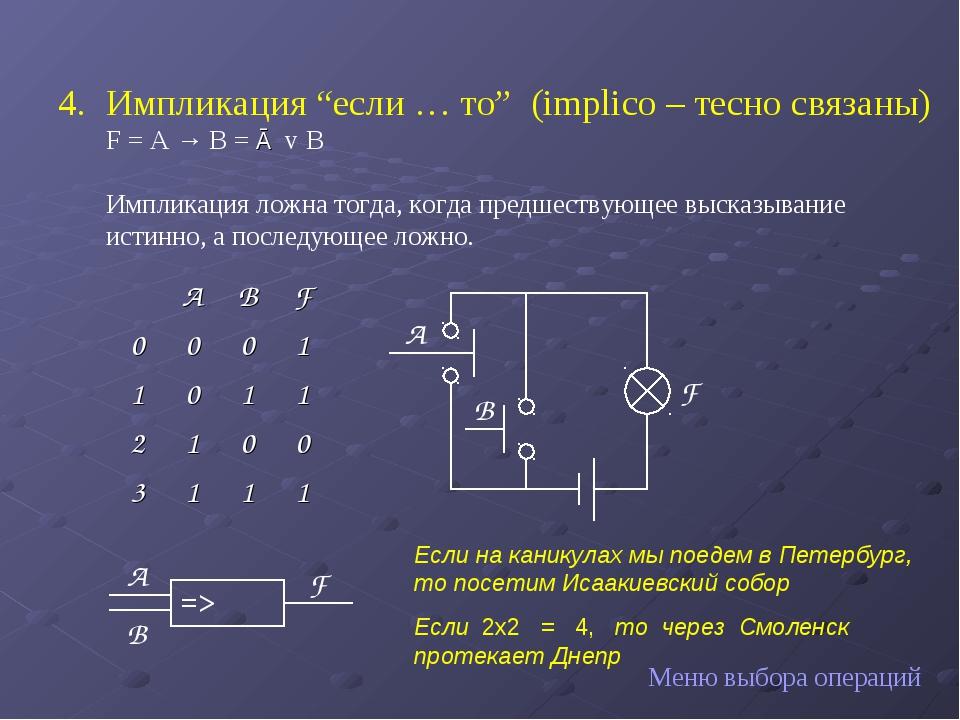 """Импликация """"если … то"""" (implico – тесно связаны) F = A → B = Ā v В Импликац..."""