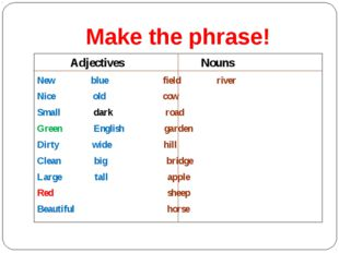 Make the phrase! Adjectives Nouns New blue field river Nice old cow Small dar