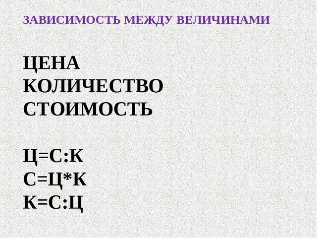ЗАВИСИМОСТЬ МЕЖДУ ВЕЛИЧИНАМИ ЦЕНА КОЛИЧЕСТВО СТОИМОСТЬ Ц=С:К С=Ц*К К=С:Ц