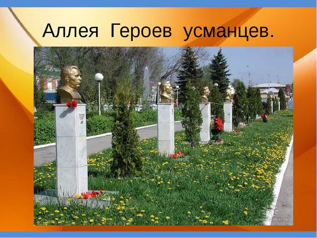 Аллея Героев усманцев.
