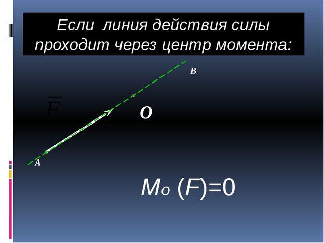 Если линия действия силы проходит через центр момента: Mо (F)=0 О А В